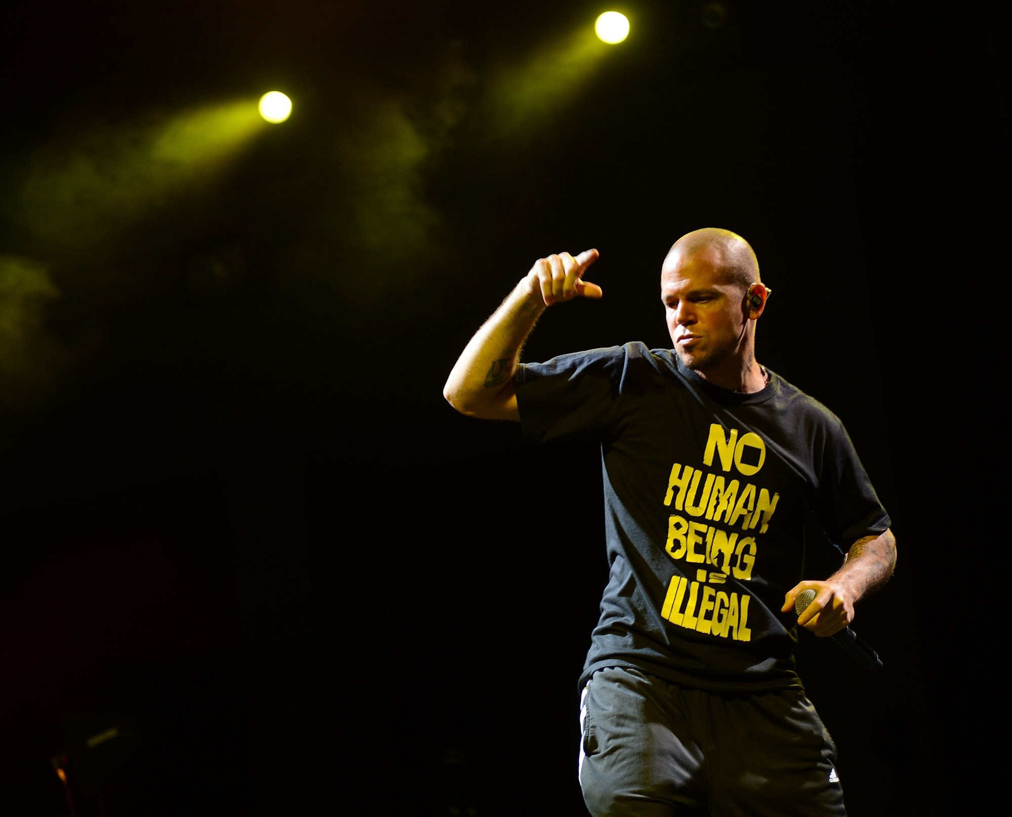 NEW YORK, NY - JULY 13:  René Pérez Joglar of the band Calle 13 performs at the 2012 Celebrate Brooklyn festival at Prospect Park Bandshell on July 13, 2012 in New York City.  (Photo by Jason Kempin/Getty Images)